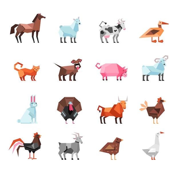 Conjunto de animales de granja geométrica vector gratuito