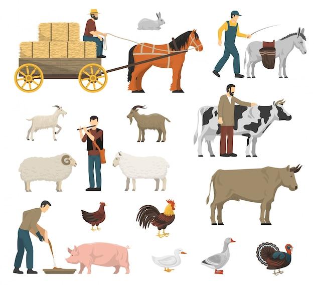 Conjunto de animales de granja vector gratuito