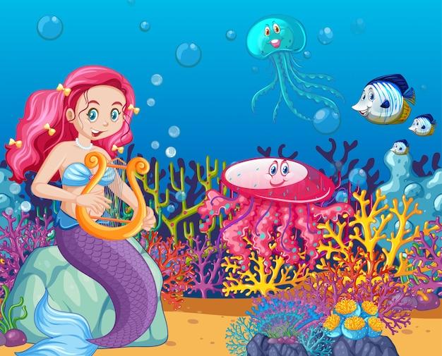Conjunto de animales marinos y estilo de dibujos animados de sirena en el fondo del mar vector gratuito
