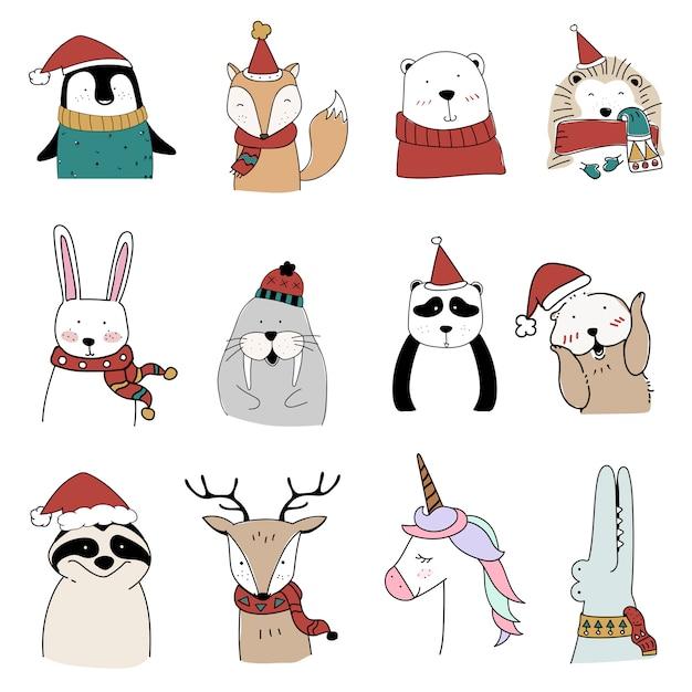 Conjunto de animales de navidad vector gratuito
