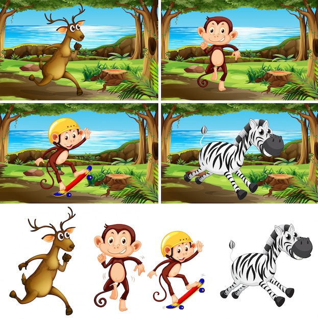 Conjunto de animales en el parque. vector gratuito