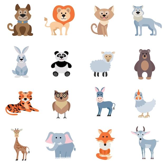 Conjunto de animales salvajes y caseros vector gratuito