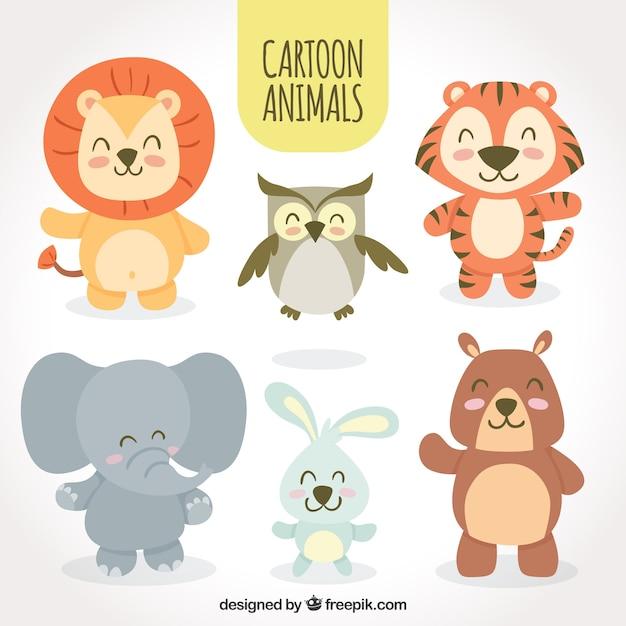 Conjunto de animales sonrientes de dibujos animados vector gratuito