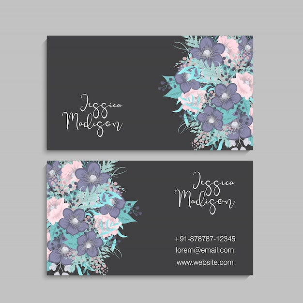 Conjunto de anverso y reverso de tarjeta de visita con flores. vector gratuito