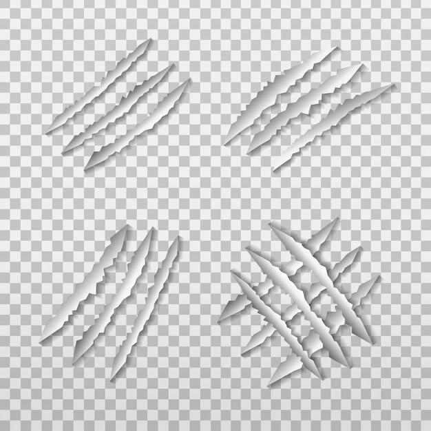 Conjunto de arañazos de garra de león realista en el fondo transparente. Vector Premium