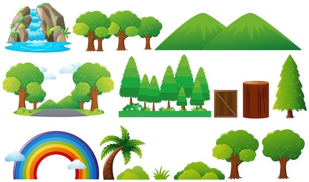 Conjunto de árboles y montañas vector gratuito