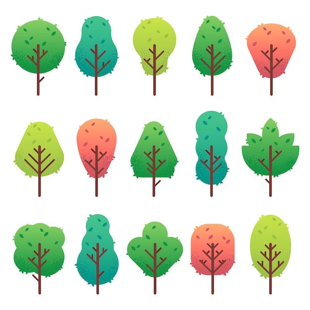 Conjunto de árboles planos. jardín tronco de árbol, arbusto y pino. naturaleza verde paisaje aislado Vector Premium