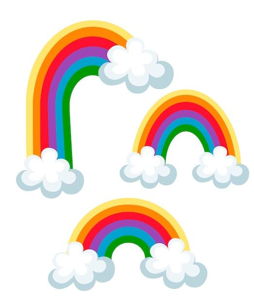 Conjunto de arco iris de colores con nubes. tres arcoíris diferentes. ilustración sobre fondo blanco Vector Premium