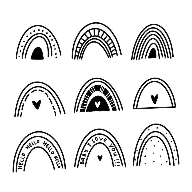 Conjunto de arcoiris en estilo doodle vector gratuito