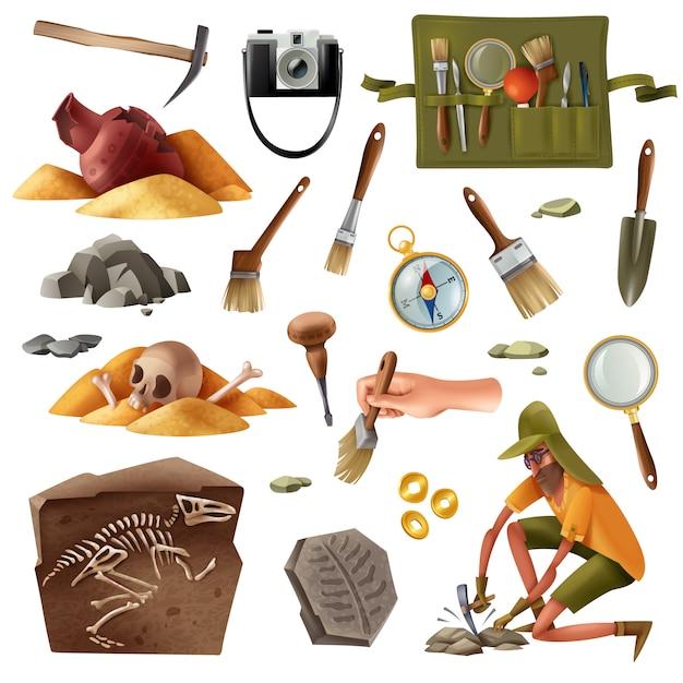 Conjunto de arqueología de imágenes de elementos aislados de artefactos de excavación de equipos de excavación con carácter humano de estilo doodle vector gratuito