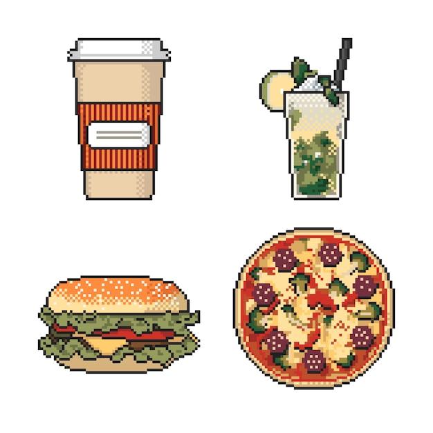Conjunto de arte de pixel de comida rápida sobre fondo blanco Vector Premium