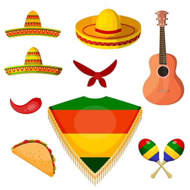 Conjunto de artículos al estilo nacional de un músico mexicano. Vector Premium