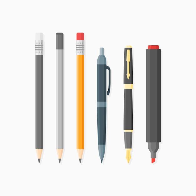 Conjunto de artículos de escritura y dibujo. bolígrafo, punta, lápices y rotulador. estilo plano Vector Premium