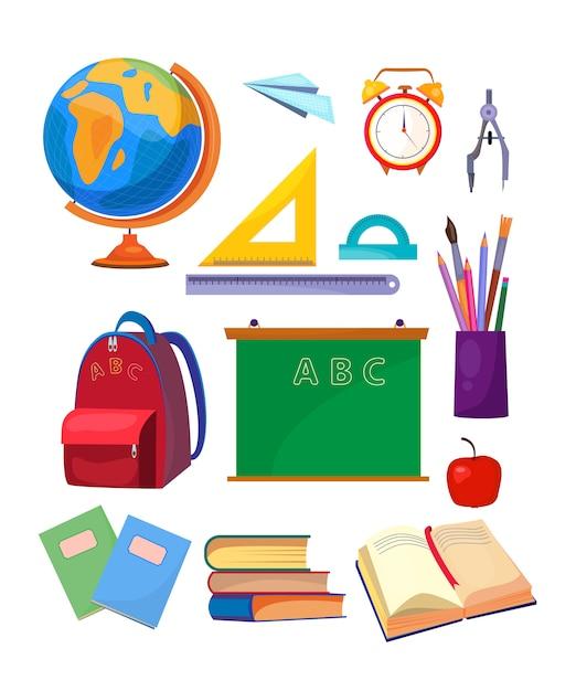 Conjunto de asignaturas escolares vector gratuito