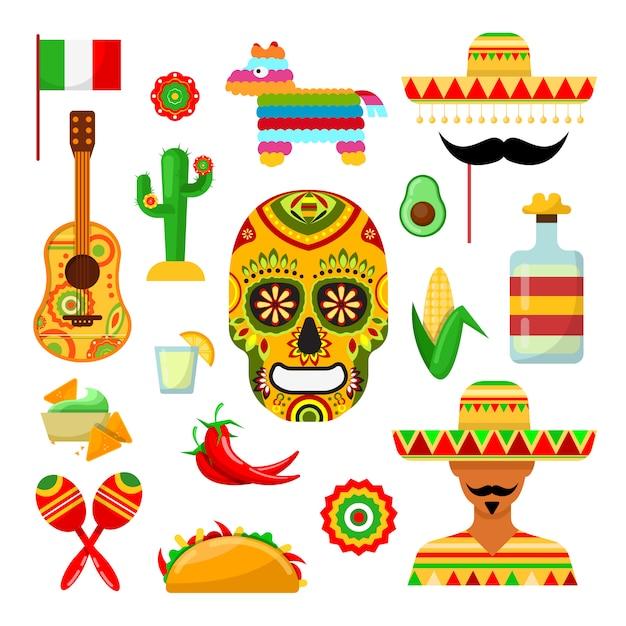 Conjunto de atributos tradicionales mexicanos sobre blanco. Vector Premium