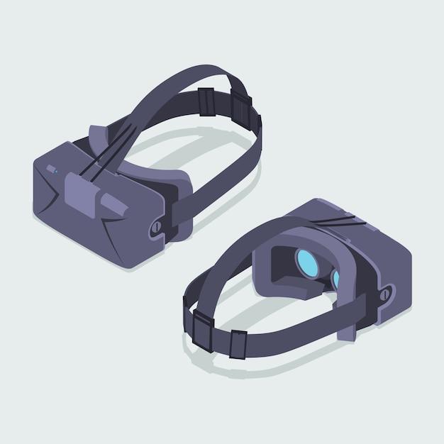 Conjunto de los auriculares de realidad virtual isométrica
