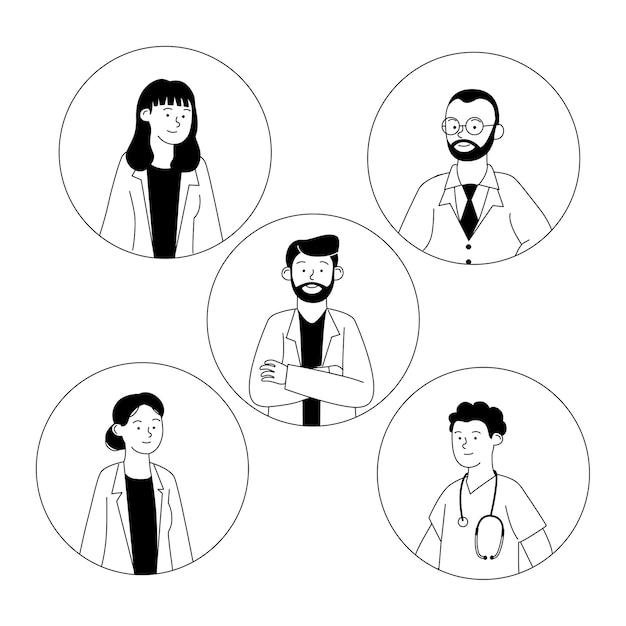 Conjunto, de, avatar, doctor, contorno, caricatura Vector Premium