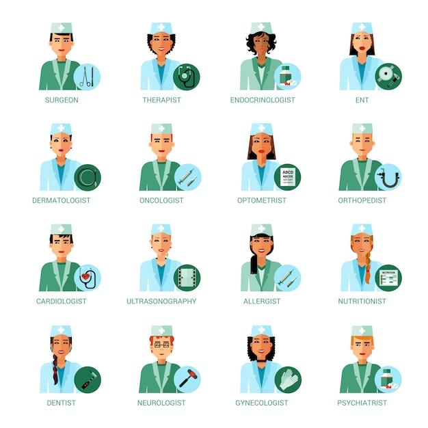 Conjunto de avatares de profesiones médicas vector gratuito