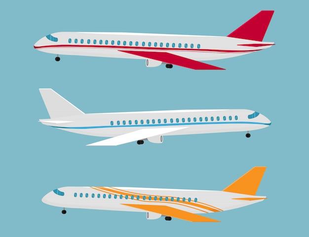 Conjunto De Aviones De Diferentes Colores Y Disenos Avion Para Vuelos Vuelo En Avion Alas De Aviacion Y Aviones De Aterrizaje Vector Premium