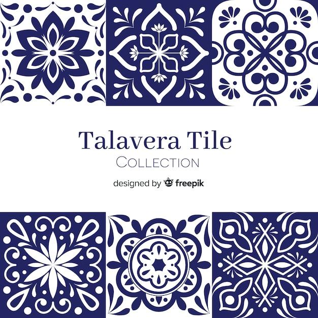 Conjunto de azulejos talavera vector gratuito