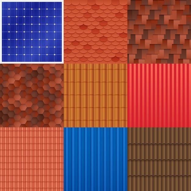 Conjunto de azulejos de techo de casa vector gratuito