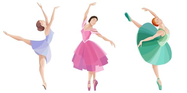 Conjunto de bailarinas de baile. hermosas bailarinas en diferentes vestidos. Vector Premium