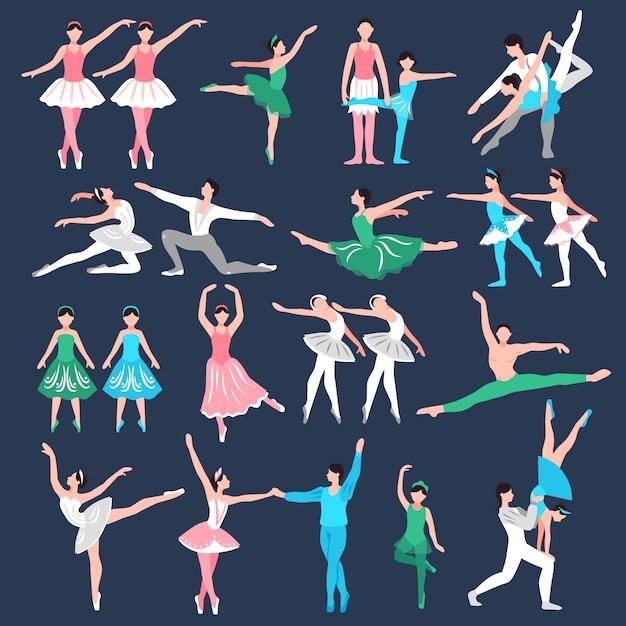 Conjunto de bailarines de ballet vector gratuito