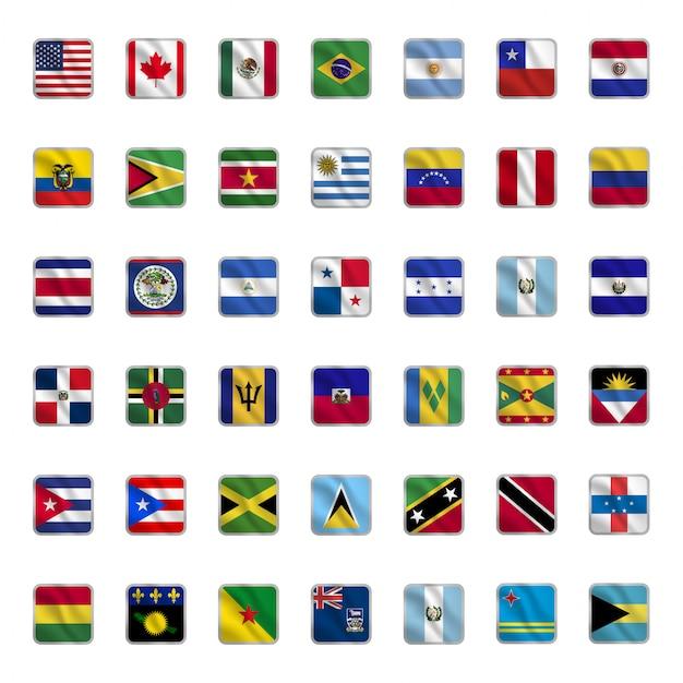 Conjunto de banderas del país americano con formas cuadradas que agitan estilo Vector Premium