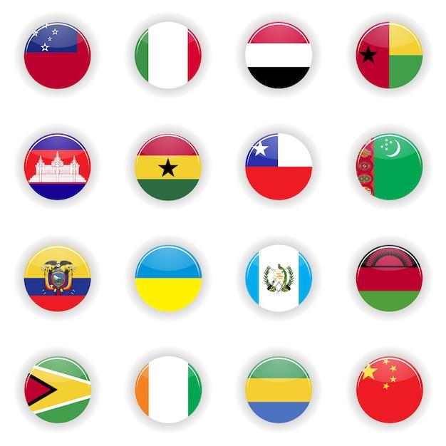 Conjunto de banderas Vector Premium