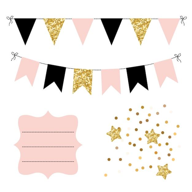 Conjunto de banderines dorados, negros y rosados, estrellas y marco curvo. Vector Premium
