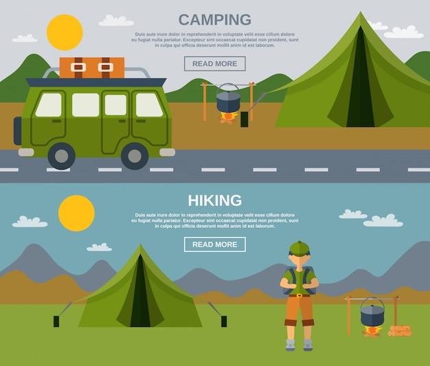 Conjunto de banner de camping vector gratuito