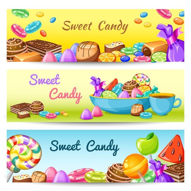 Conjunto de banner de caramelo dulce vector gratuito