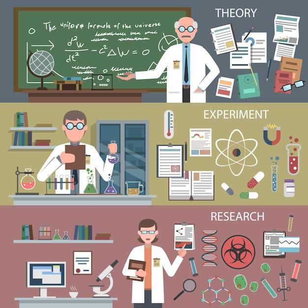 Conjunto de banner de ciencia vector gratuito