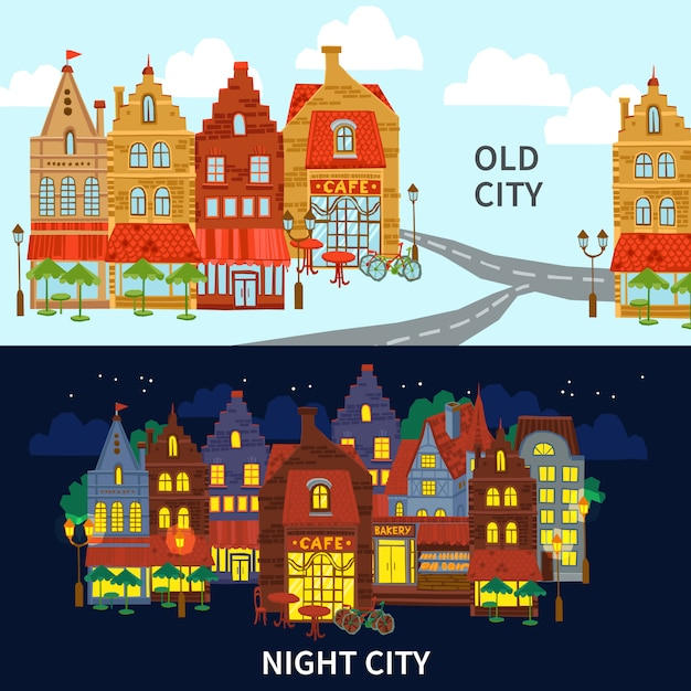 Conjunto de banner de la ciudad vector gratuito
