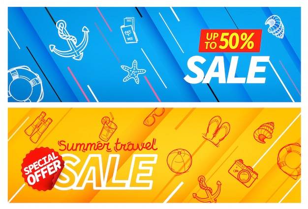 Conjunto de banner de color de venta summertravel, Vector Premium