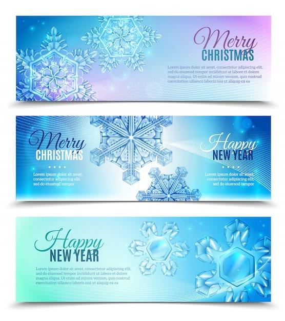 Conjunto de banner de copo de nieve realista vector gratuito