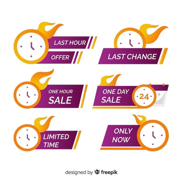Conjunto de banner de cuenta regresiva de ventas vector gratuito