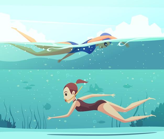 Conjunto de banner de deportes acuáticos vector gratuito