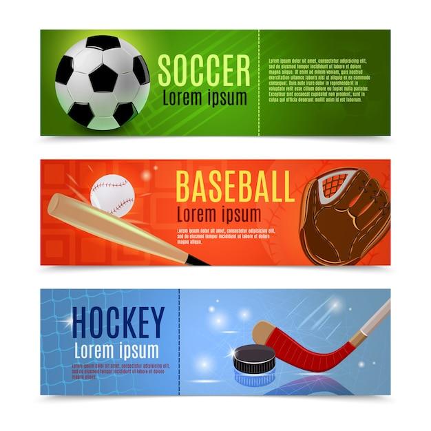 Conjunto de banner deportivo vector gratuito