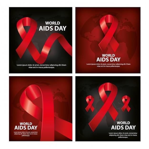 Conjunto de banner del día mundial del sida con decoración Vector Premium