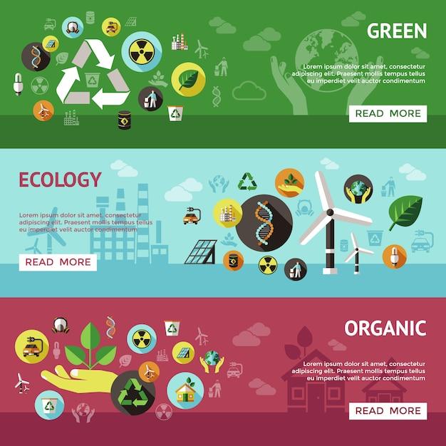 Conjunto de banner de ecología vector gratuito