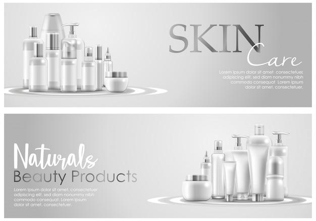 Conjunto de banner de embalaje de productos de belleza natural de cuidado de la piel Vector Premium