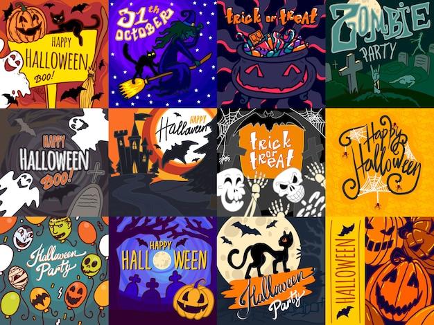 Conjunto de banner de halloween Vector Premium