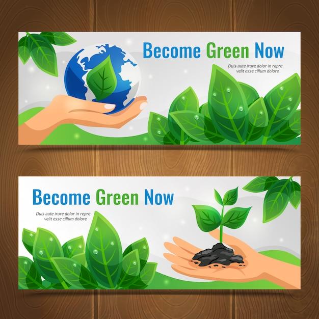 Conjunto de banner horizontal de ecología vector gratuito