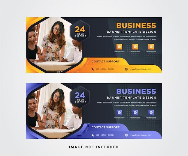 Conjunto de banner horizontal con fondo oscuro combinado con diseño de elemento degradado naranja y suave púrpura. forma hexagonal del espacio para la foto. Vector Premium