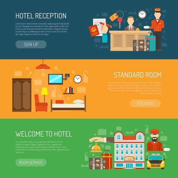 Conjunto de banner de hotel vector gratuito