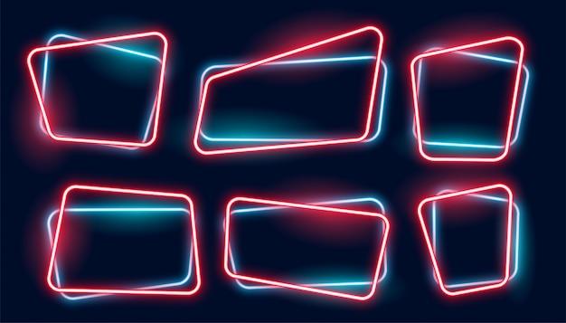 Conjunto de banner de marcos de neón brillante vacío vector gratuito