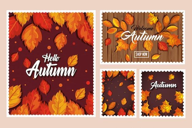 Conjunto de banner de otoño, tarjeta y patrones sin fisuras con decoración de hojas vector gratuito
