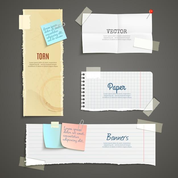 Conjunto de banner de papel rasgado vector gratuito