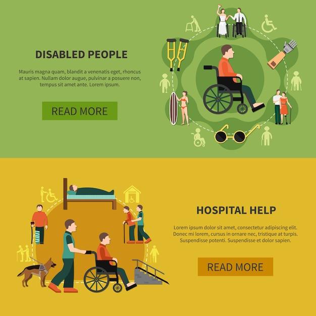 Conjunto de banner de persona discapacitada vector gratuito